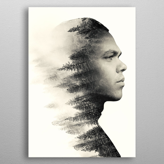 a double exposure portrait of a man and a natural landscape metal poster