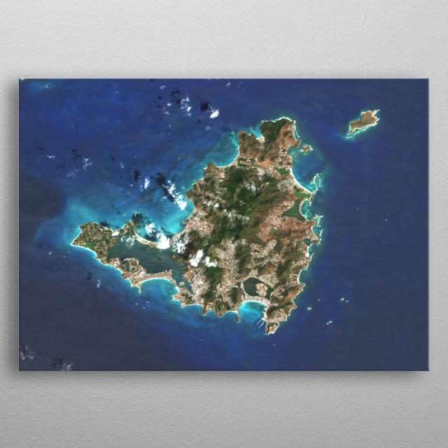 Saint Martin (Saint-Martin/Sint Maarten) is an island in the northeast Caribbean Sea, approximately 190 mi east of Puerto Rico. metal poster