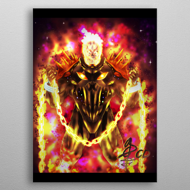 ilustración de Cosmic Ghost Rider  metal poster