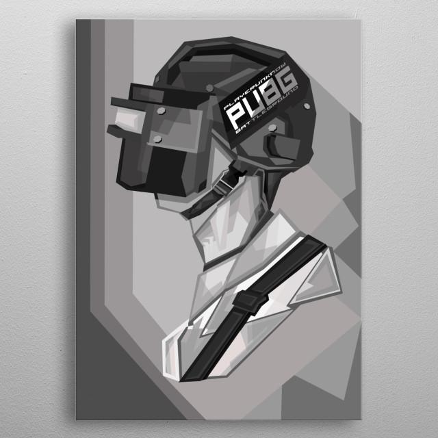 PUBG WPAP Grayscale Art  metal poster