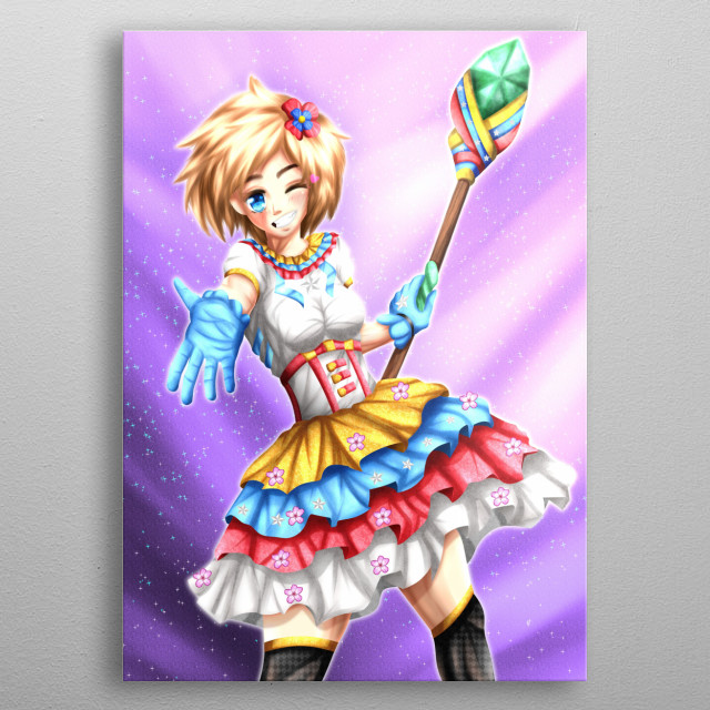 Mihaela, she is a magical girl inspired by the colors of the venezuela flag, anime illustrations. metal poster