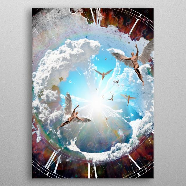 Vivid galaxy. Naked winged men represents angels metal poster