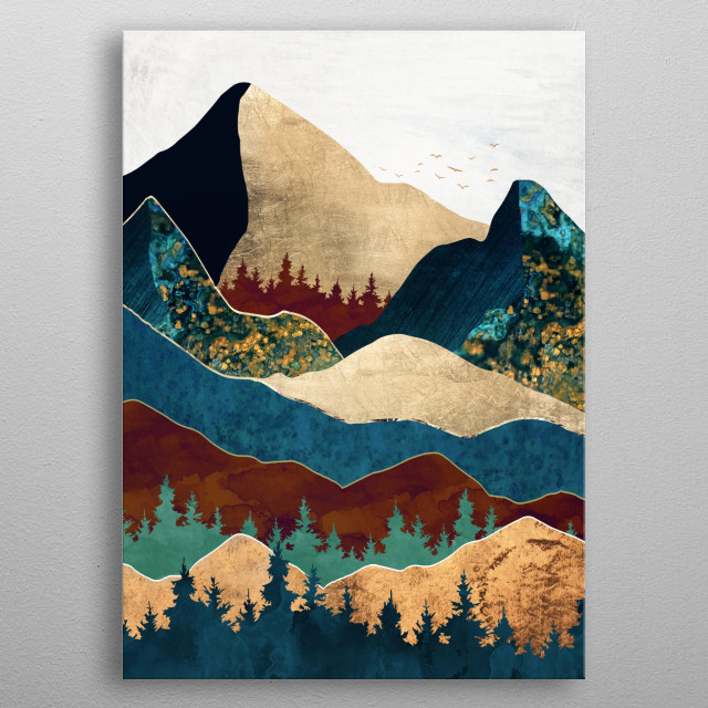 Abstract landscape of malachite mountains with gold, teal, amber and blue metal poster