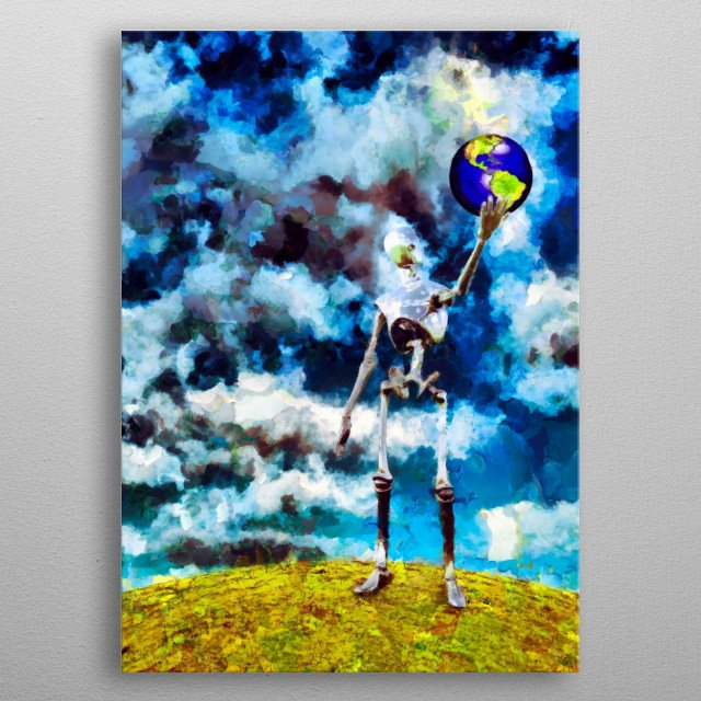 Alien robot holds planet Earth in his hand. Oil painting metal poster