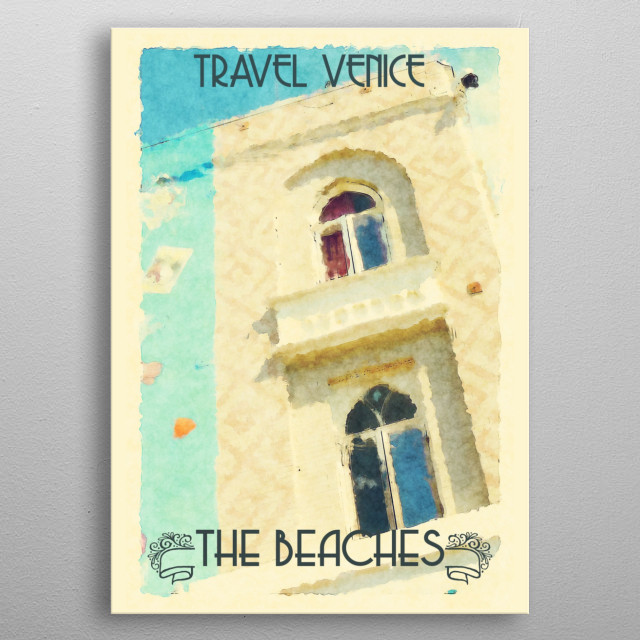 Vintage travel poster of Venice, Italy. metal poster