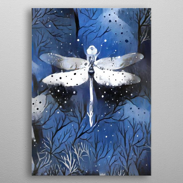 A nocturnal animal flies on a cold winter night. metal poster