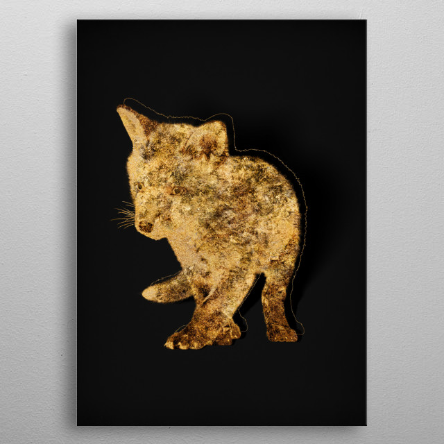 Abstract artwork of gold fauna outlined in glitter and gilded... GOLD! Go for GOLD!!!! metal poster