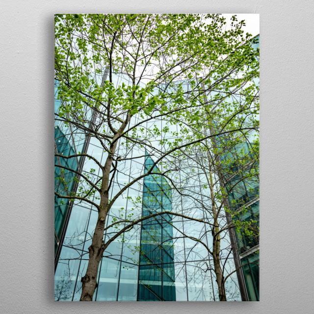 Modern Glass Building in London, UK metal poster