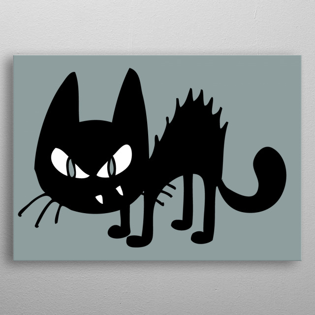 illustration of the black cat cartoon metal poster
