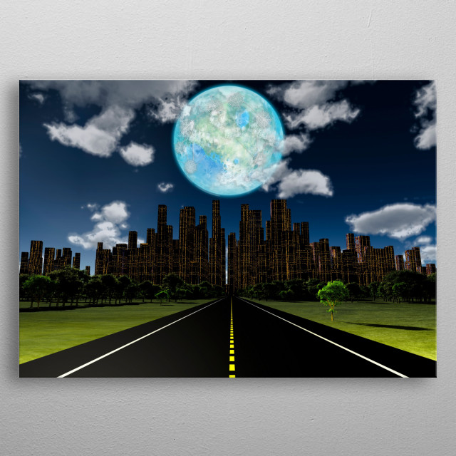 Night roadway to future city. Terraformed moon in the sky metal poster