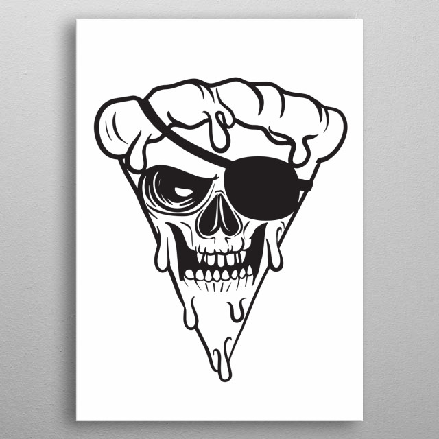 Superhero Pizza man eye patch, Vector illustration of Super Hero character. Monster  character on white background, APR19  metal poster