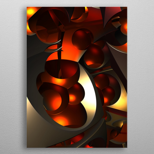 A three-dimensional fractal rendering with a distinctive metallic apperance. metal poster