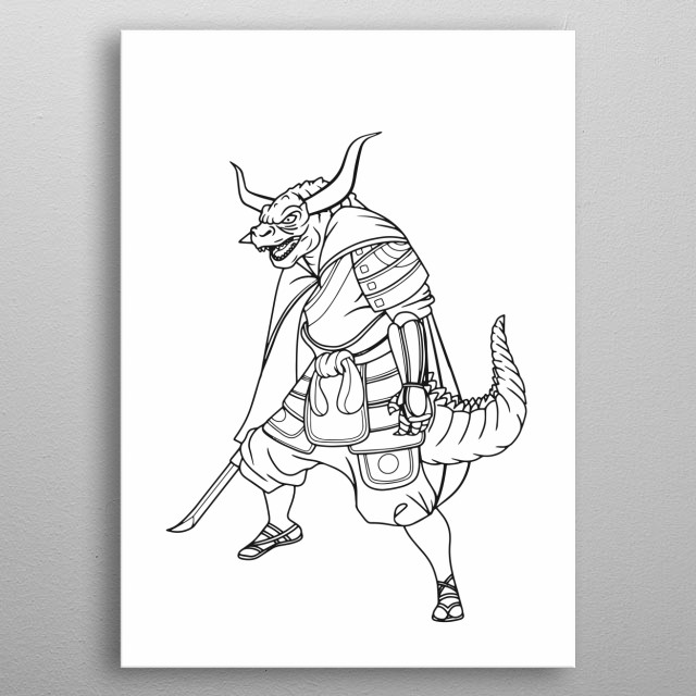 illustration of Superhero wearing samurai suit character. Monster  character on white background , APR19 metal poster
