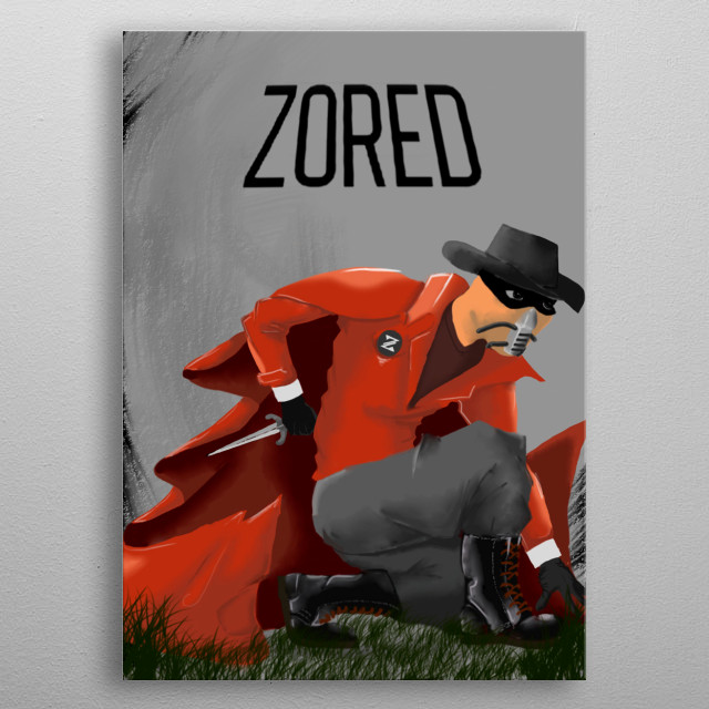 illustration of Zored, a new superheros created y myself. He is a superhero who like leather and have a cape because it's sexy. metal poster