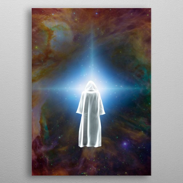 Surreal digital art. Figure of man in white cloak stands before bright star metal poster
