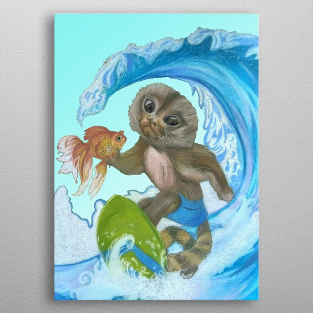 Monkey (Pygmy Marmoset- Surfer) Rescues the Gold Fish. Soft Pastel Painting. Handpainted.  metal poster
