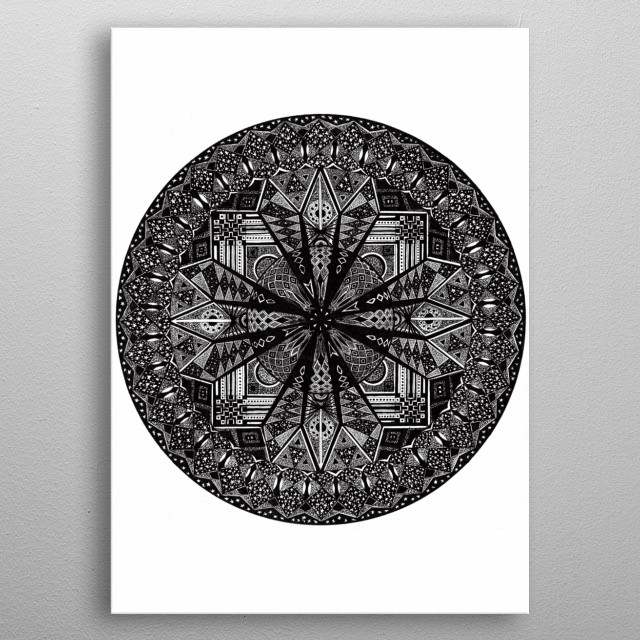 Hand-drawn mandala prints. Intricate patterns and geometry. wholeness and unity. metal poster