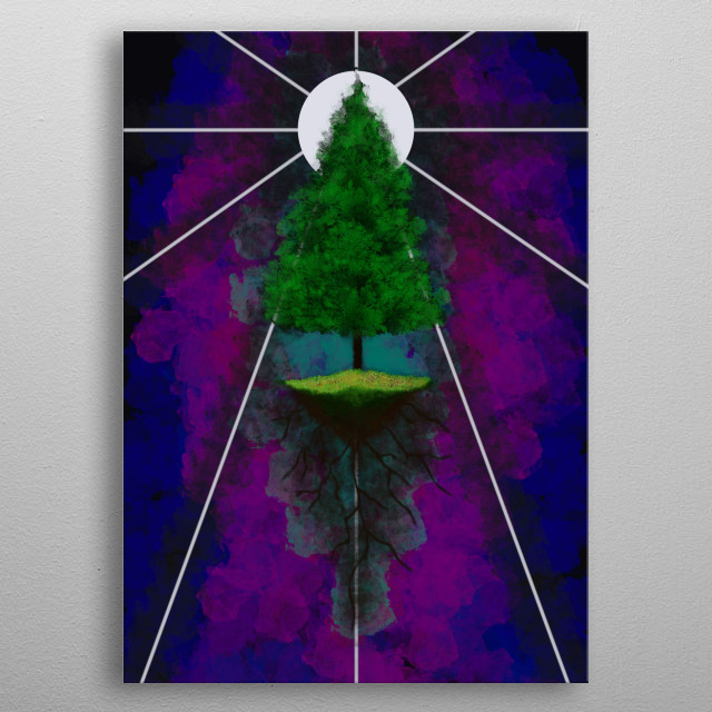 This is a tree that is also in space metal poster