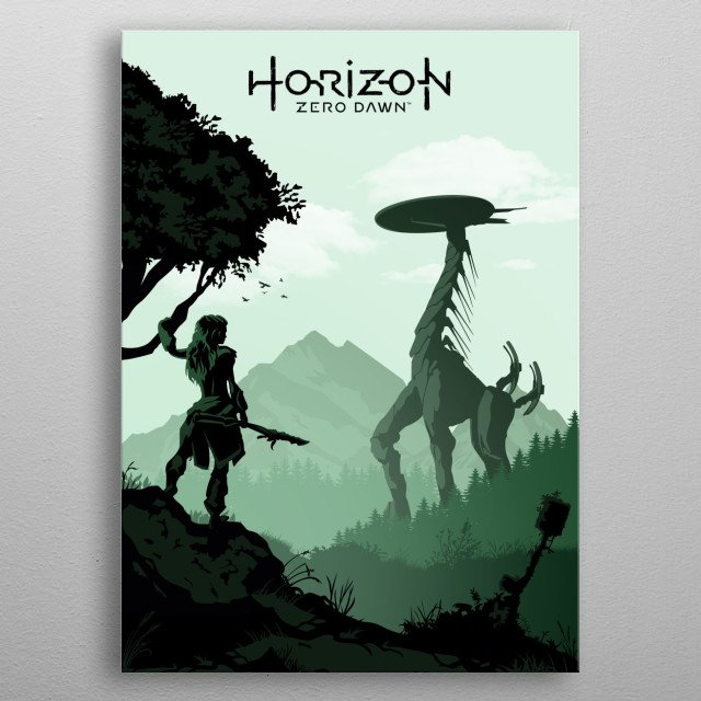 Illustration of the game horizon zero dawn. metal poster