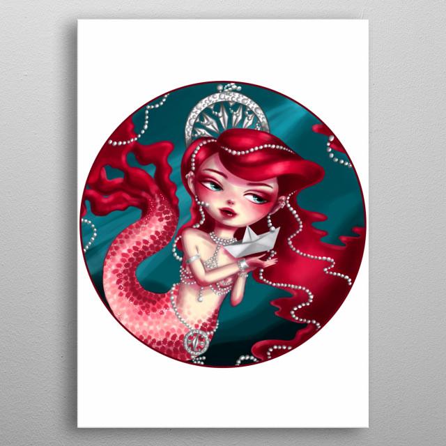 Digital illustration of Pearl, an original character.  metal poster