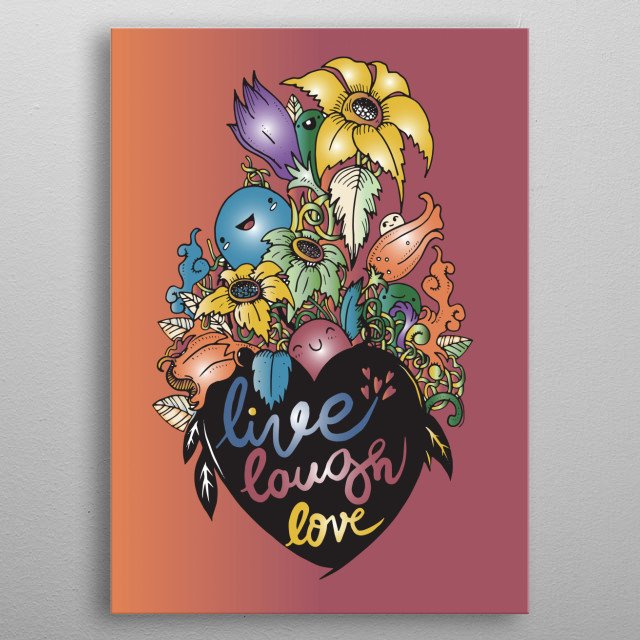 Love Valentines Day composition in doodle style. Floral, ornate, decorative, tribal, design elements. Hearts, love letters, flowers, leaves. metal poster