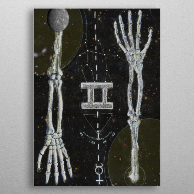A Dark Horoscopes design inspired by The Twins, featuring symbols of the Twins and their Horoscope, as well as idential skeletal arms. metal poster