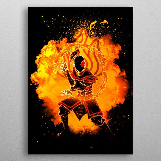 Black Silhouette of the firebender metal poster