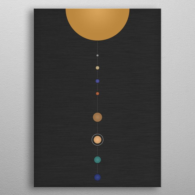 A simplistic and minimalistic representation of our solar system with the sun and the eight planets. metal poster