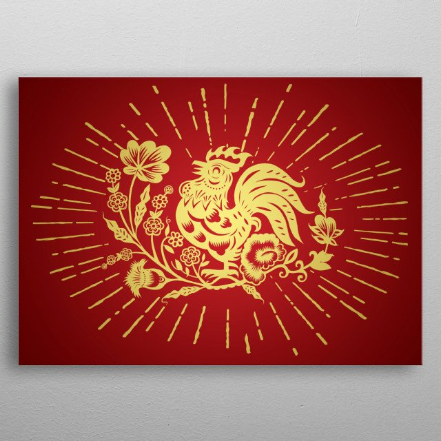 Hand Drawn Illustration of Zodiac Sign for Year of Rooster, Chinese traditional design metal poster