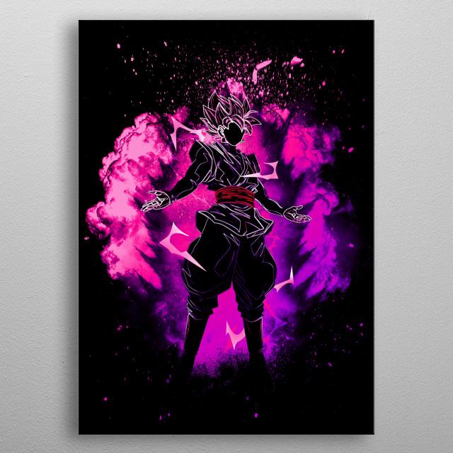 Black Silhouette of the Saiyan Rose metal poster