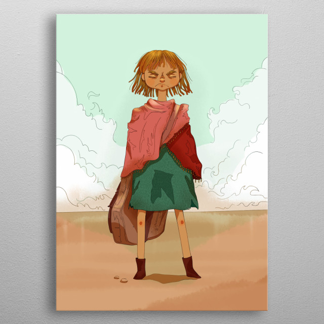 An illustration of a sexless child, surviving the harsh life imposed on them. metal poster