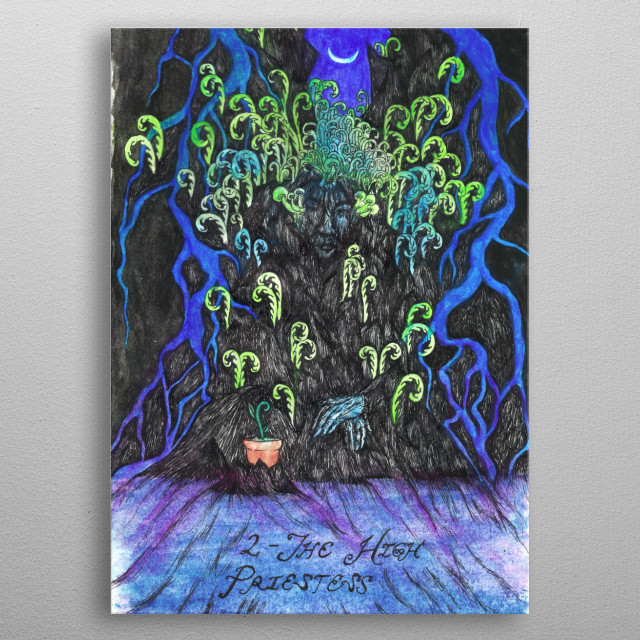 The High Priestess is a woman of wisdom, she is patient, in tune with her intuition and her subconscious, keeper of divine knowledge. metal poster