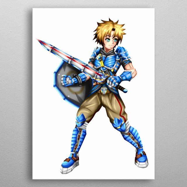 hero swordsman with bright armor from the medieval era. Fantasy character in the anime style. metal poster