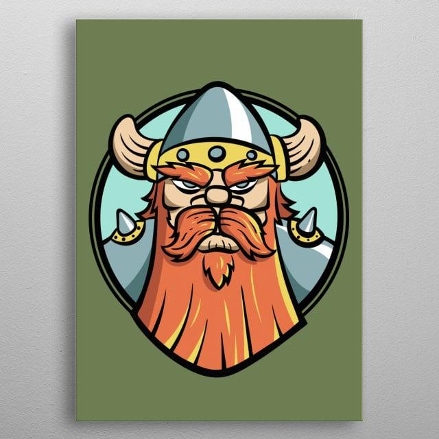 A menacing red beard dwarf warrior. metal poster