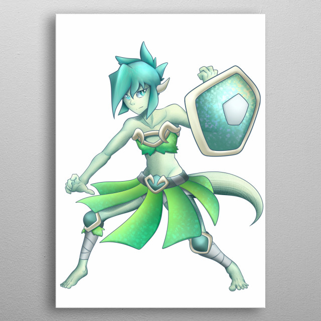 Scamy, is a kind of woman-lizard, anime style. metal poster