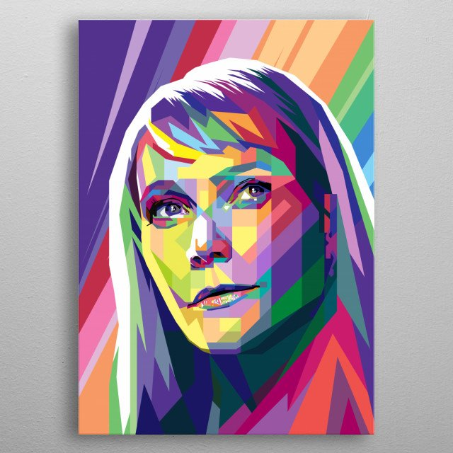 Pop Art Style in WPAP of Gwyneth Kate Paltrow, an  American actress, singer, author and businesswoman. metal poster