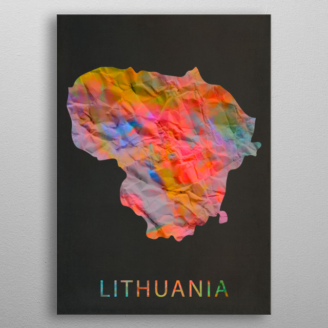 Lithuania Tie Dye Country Map metal poster