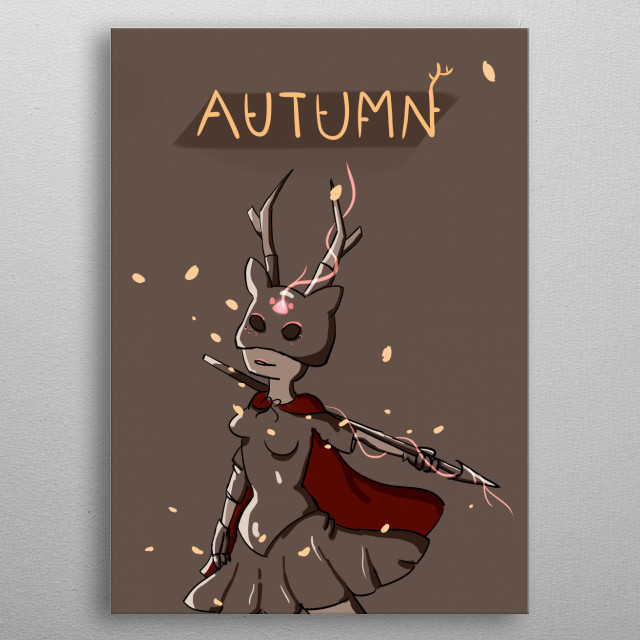 she will occur to the word when the leaves turns orange. metal poster