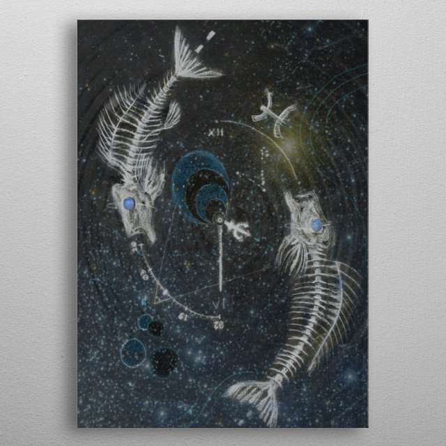 A design of Pisces, the Fish, two fish skeletons swirling in the infinite cosmos  metal poster