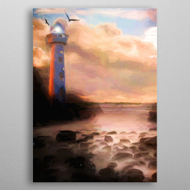 Lighthouse shows the way by the sea, ocean metal poster