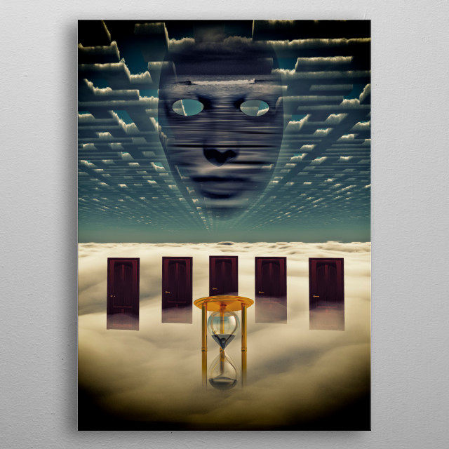 Face in the sky above seven doors metal poster