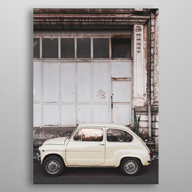 Small Italian vintage car parked metal poster