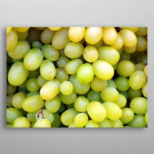 Bunch of ripe green vines on a market in southern Europe. Lush and fresh, healthy and delicious. For kitchens, dining areas, grocery shops. metal poster