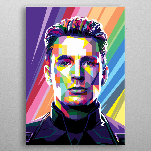 Pop Art Style in WPAP of Christopher Robert Evans  an American actor. Evans is known for his superhero roles as Captain America. metal poster