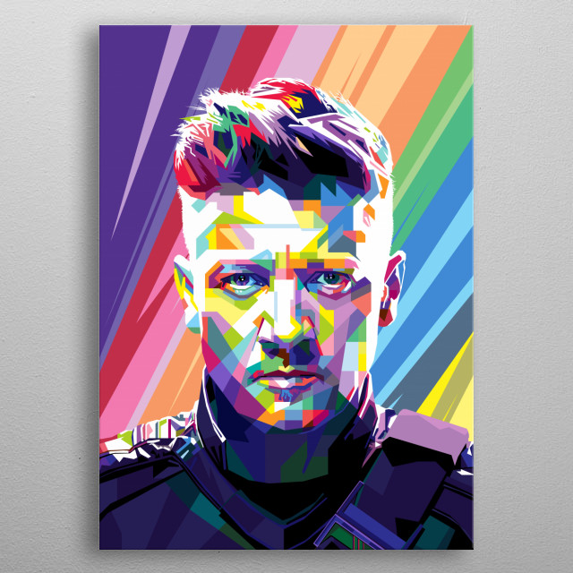 Pop Art Style in WPAP of Jeremy Renner an American actor. He appeared largely in independent films such as Dahmer (2002) and Neo Ned (2005). metal poster