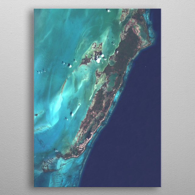 Satellite image of Ambergris Caye, Belize's largest island. metal poster