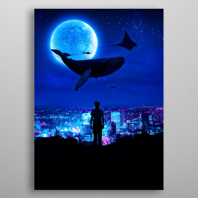 High Tide, flying whale fantasy inspired artwork. metal poster