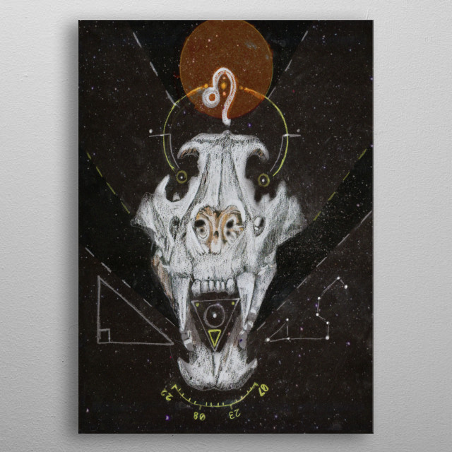 Part of the Dark Horoscopes series, a Lion Skull representative of the Horoscope, Leo and its associated symbolism. metal poster