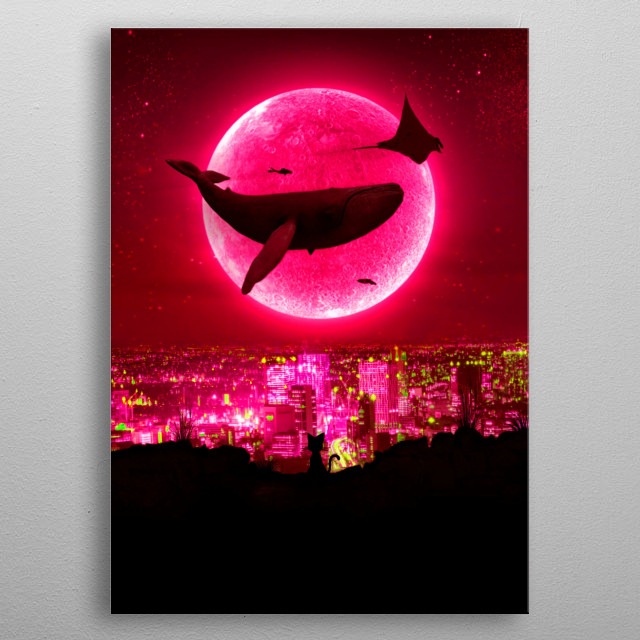 Red Moon High Tide, flying whale fantasy inspired artwork. metal poster