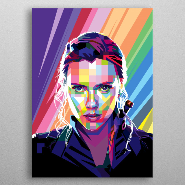 Pop Art Style in WPAP of Scarlett Ingrid Johansson an American actress and singer. metal poster